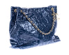 Chanel Navy Blue Crackled Patent Leather Puzzle Tote Bag - Designer Vault - 2