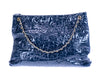 Chanel Navy Blue Crackled Patent Leather Puzzle Tote Bag - Designer Vault - 3
