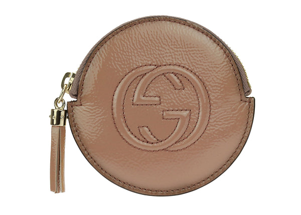 Gucci Soho Coin Purse Rose Blush Patent Leather Powder Face Coin Purse