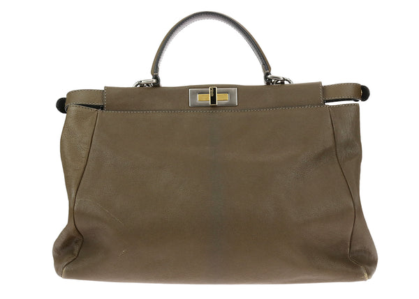 Fendi Large Peekaboo Olive Green Leather Tote Bag