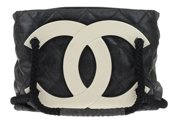Chanel Black Coated Canvas Large CC Beach Tote