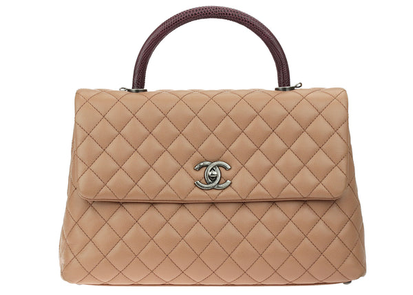 Chanel Tan Quilted Caviar Leather and Lizard Coco Handle Bag