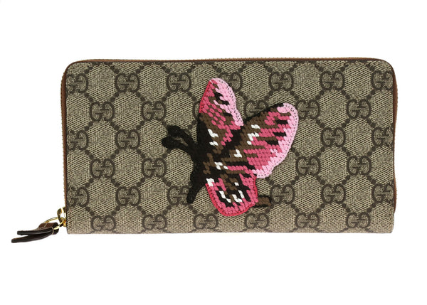 Gucci Butterfly Embroidery Supreme Zip Around Wallet