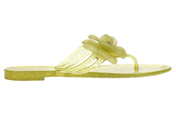 Chanel Jelly Camellia Flower Yellow Glitter Sandals