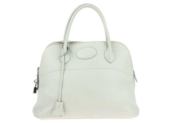 Hermes Grey Clemence Leather Bolide 31cm Bag