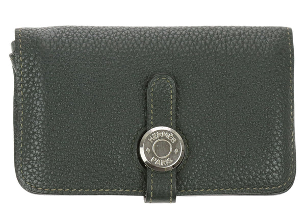 Hermes Dark Green Togo Dogon Key Pouch Card Case