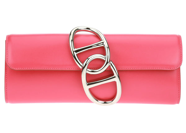 Hermes Pink Box Leather Egee Clutch