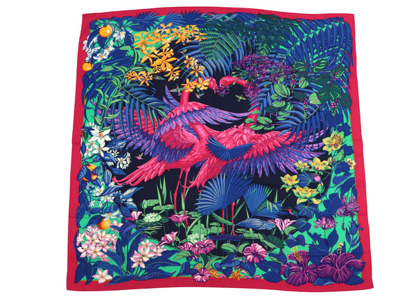 Hermes Cashmere 140 GM Flamingo Party Pink Purple Shawl Scarf