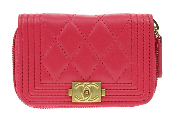 Chanel Pink Lambskin Leather Boy Zip Around Coin Purse Wallet