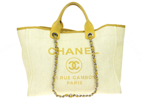 Chanel Yellow Calfskin Woven Raffia Large Deauville Tote