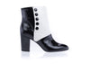 Chanel Black White Short Ankle Boots Size 40 - Designer Vault