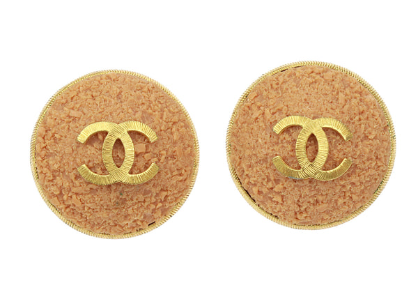 Chanel Circa 1980's Vintage CC Logo Oversized Clip-On Earrings