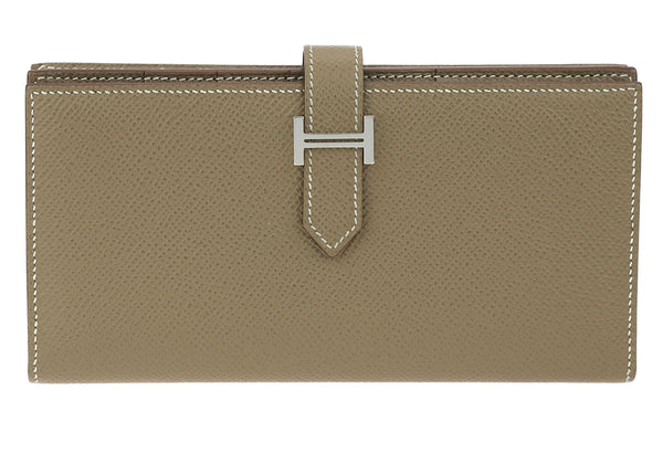 Hermes Etoupe Epsom Leather Bearn Long Wallet