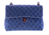 Chanel Vintage Quilted Denim Tortoise Shell Jumbo Flap Bag - Designer Vault - 1