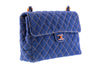 Chanel Vintage Quilted Denim Tortoise Shell Jumbo Flap Bag - Designer Vault - 2