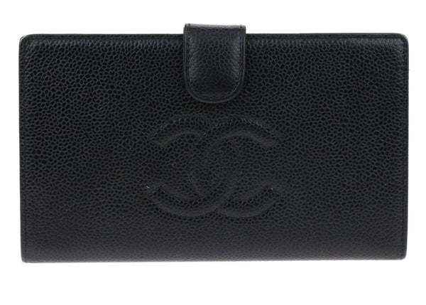 Chanel Black Caviar Timeless CC French Purse Wallet