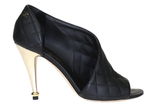 Chanel Black Calfskin Quilted Peep Toe Pumps 37