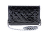 Chanel Black Patent Leather Wallet on Chain WOC Bag - Designer Vault