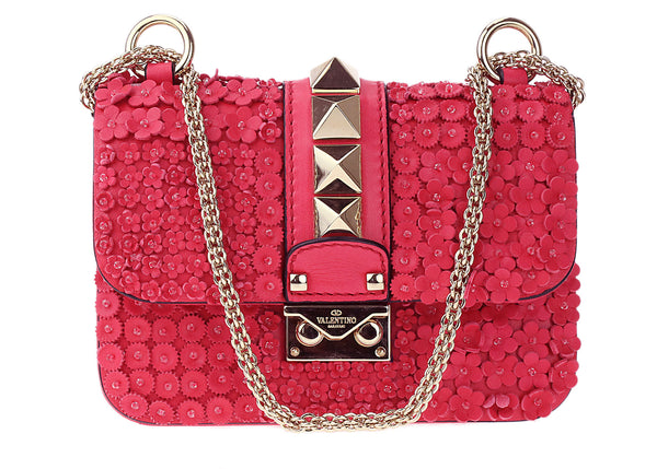Valentino Rockstud Mini Glam Lock Flower Leather Shoulder Bag Crossbody