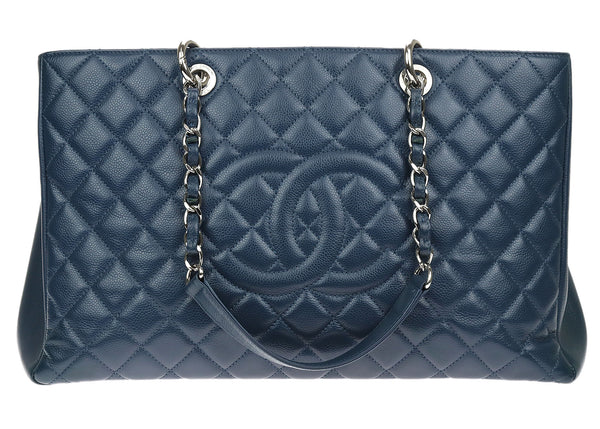 Chanel Navy Blue Caviar Leather XL Grand Shopping Tote GST