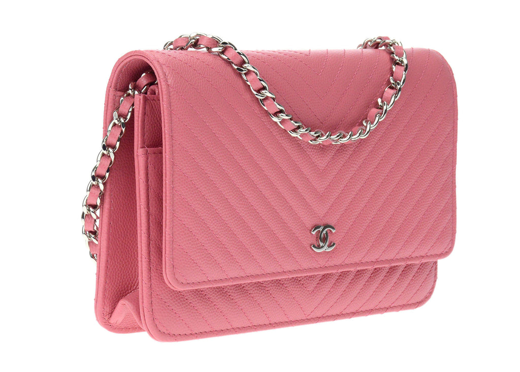 cb4f2f42c2eae1 Chanel Chevron Wallet On Chain Pink. Chanel Pink Caviar Leather ...