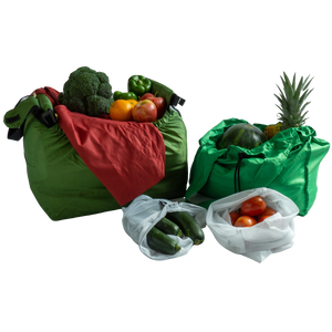 Reusable grocery bag bundle with bagito hangbag produce bag grande bag and original bag