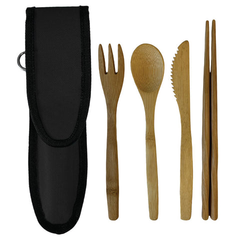 Bamboo Cutlery Set with black pouch