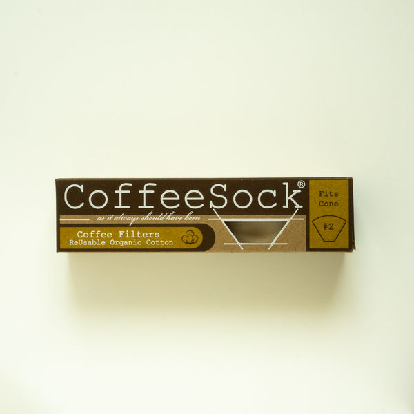 text on front side of recycable carton box with CoffeeSock reusable organic cotton coffee filter - fits cone #2