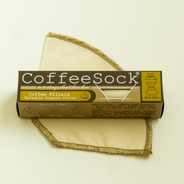 CoffeeSock reusable organic cotton coffee filter with recycable carton paper box fits chemex 6-13 cup