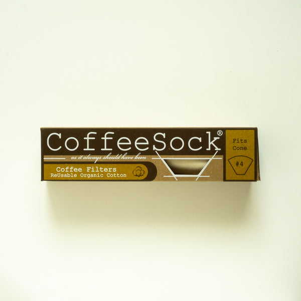 text on front side of recycable carton box with CoffeeSock reusable organic cotton coffee filter - fits cone #4