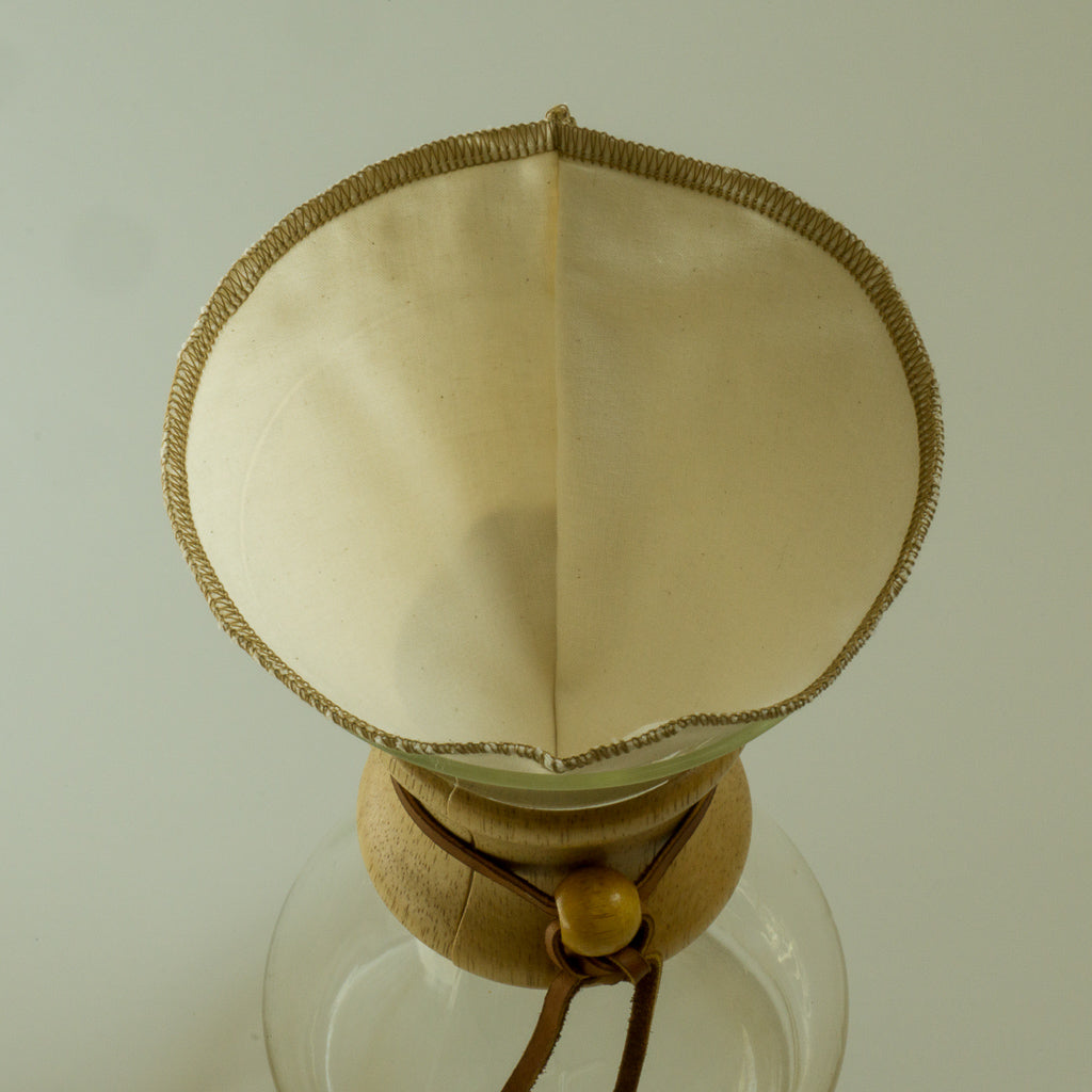 CoffeeSock organic cotton coffee filter in chemex coffeemaker