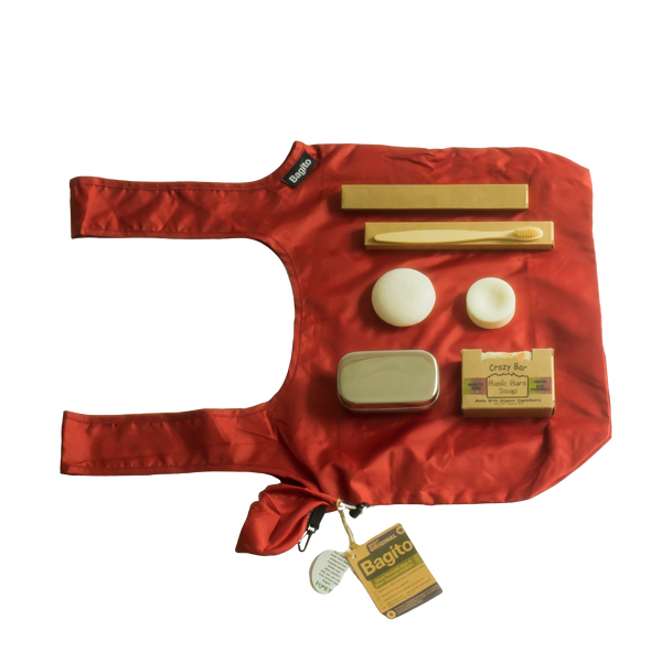 Bundle with reusable grocery bag, bamboo toothbrushes, stainless steel snack lunch box, organic soap, organic shampoo and conditioner