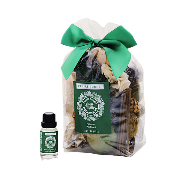 This bundle contains the Fresh Royal Fir™ home fragrance oil used to continuously refresh your potpourri.  A perfect gift with the scent of the holiday season or for everyday.