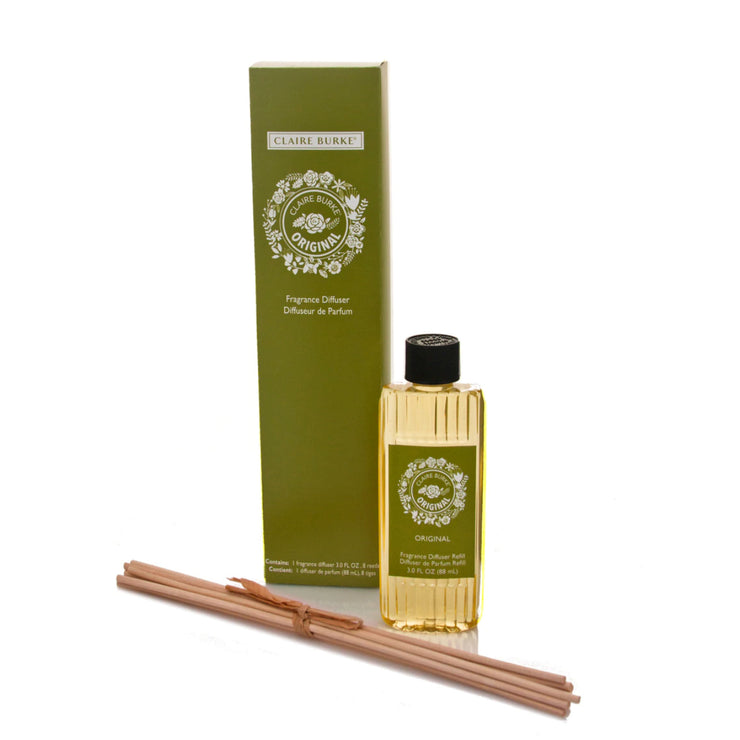 Displaying a graceful fusion of modern glass and elegant reeds, the fragrance diffuser is a flameless alternative way to surround your space with the timeless aroma of the Claire Burke® Original.