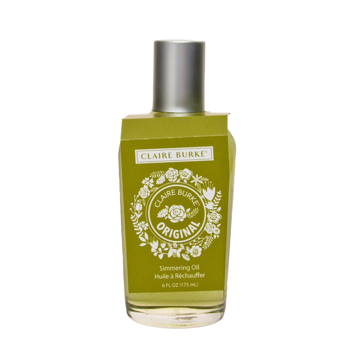 Timeless scent of roses, lavender, and spice blended with patchouli and vetiver. The softly scented Original Simmering Oil is a mini oasis for the senses, tranquil and leafy green, it sends fragrant notes spiraling up from its pooling depths.