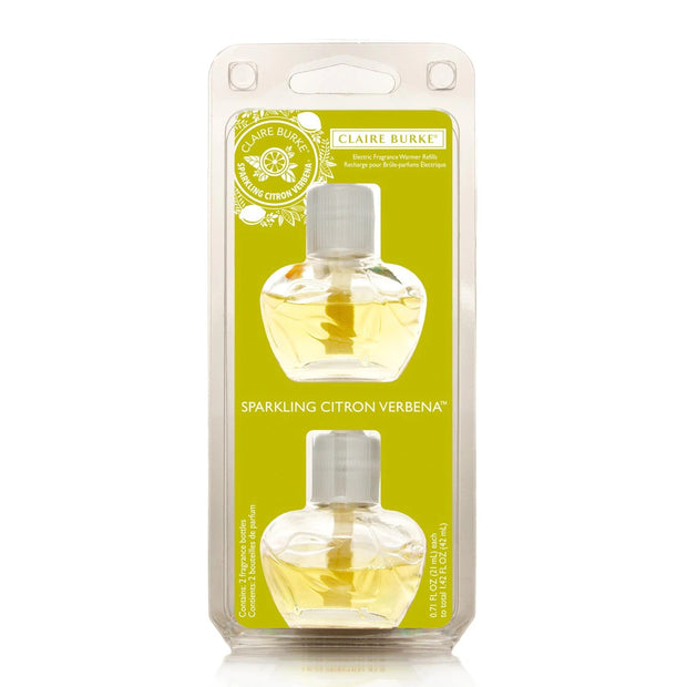 Scent any room with noticeable fragrance for weeks and weeks. Sparkling Citron Verbena™ infuses the air with the crisp essences of myer lemon, lime and citron mingled with french cassis and verbena leaves. Sparkling Citron Verbena Plug-in Refill Bundle