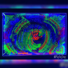 "Load image into Gallery viewer, UV Painting: ""Healer's Hand"" Framed with UV Lights (24""x36"")"
