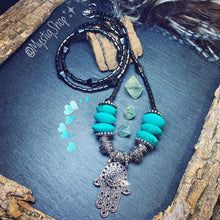 Load image into Gallery viewer, 💙Turquoise & Hematite Hamsa Necklace