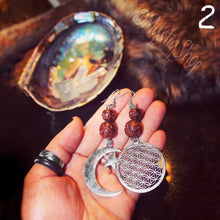 Load image into Gallery viewer, 🌙Mismatched Moon and FlowerOfLife Earrings