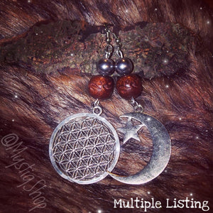 🌙Mismatched Moon and FlowerOfLife Earrings