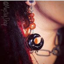 Load image into Gallery viewer, 🌙Black Obsidian Crescent Moon Earrings
