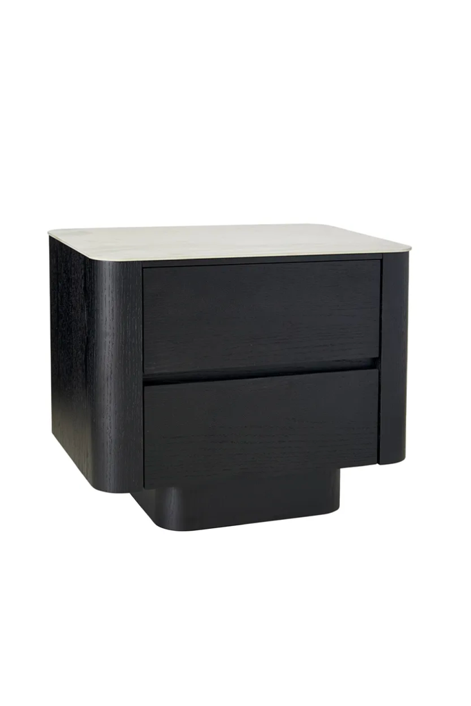 BEDSIDE BLACK WITH MARBLE CERAMIC TOP