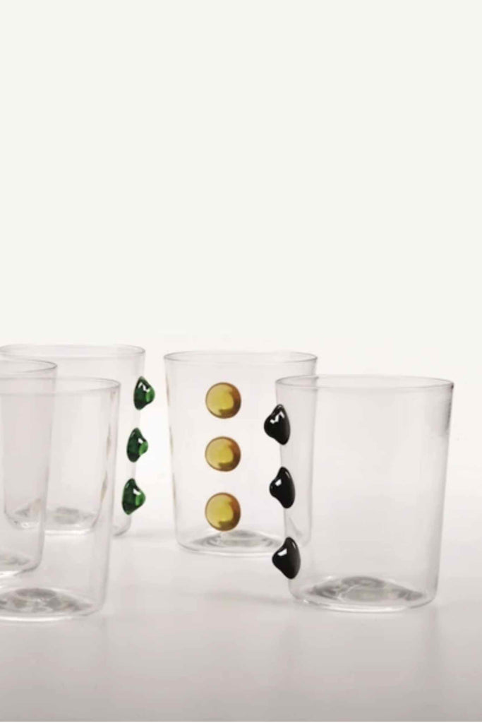 SET OF SIX GLASS TUMBLERS WITH BLACK ACCENTS