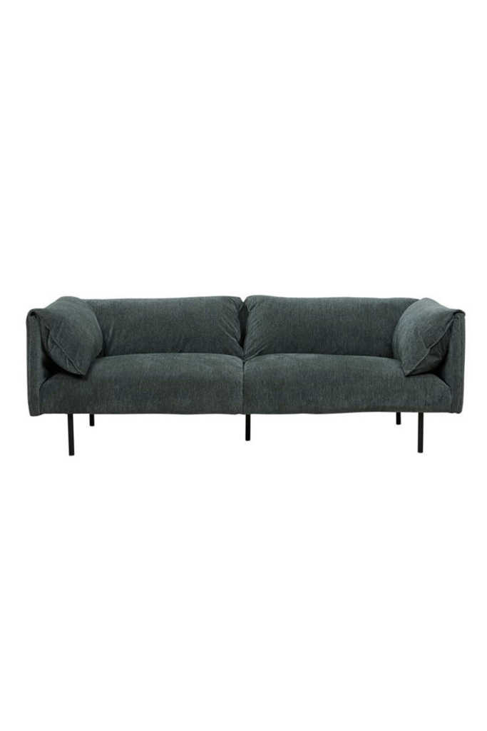 FOREST GREEN FOLD 3 SEATER SOFA