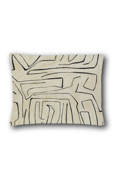 KELLY WEARSTLER GRAFFITO CUSHION LINEN ONYX