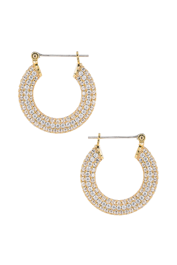 PAVE BABY AMALFI HOOPS IN GOLD BY LUV AJ