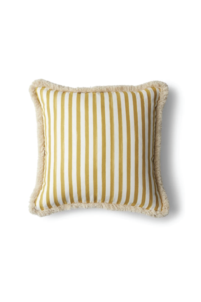 OCHRE STRIPED CUSHION WITH BRUSH FRINGE