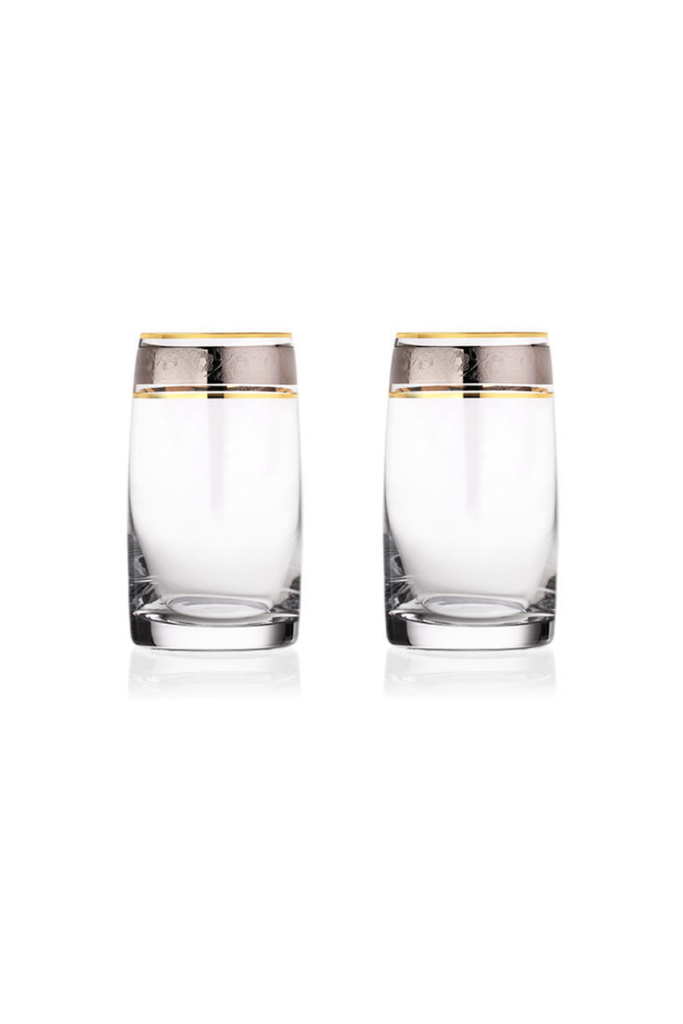 GOLD AND SILVER CRYSTAL TUMBLERS SET OF SIX