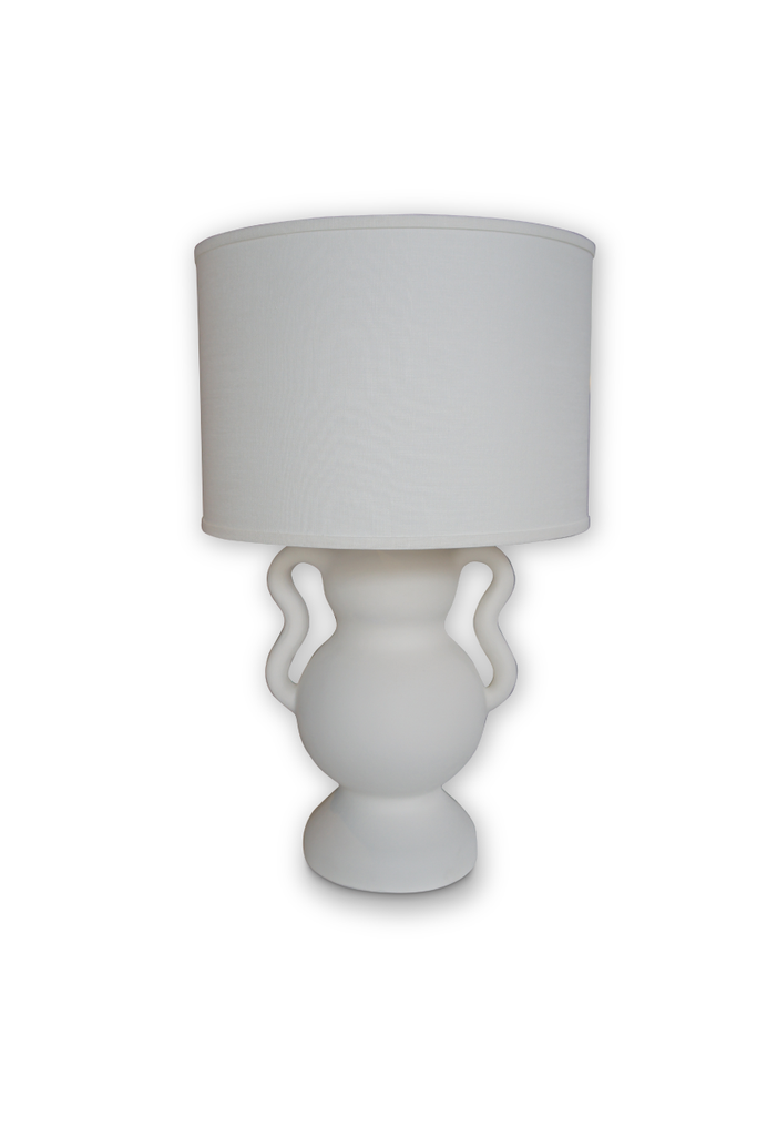 MINERVA LAMP WITH WHITE DRUM SHADE