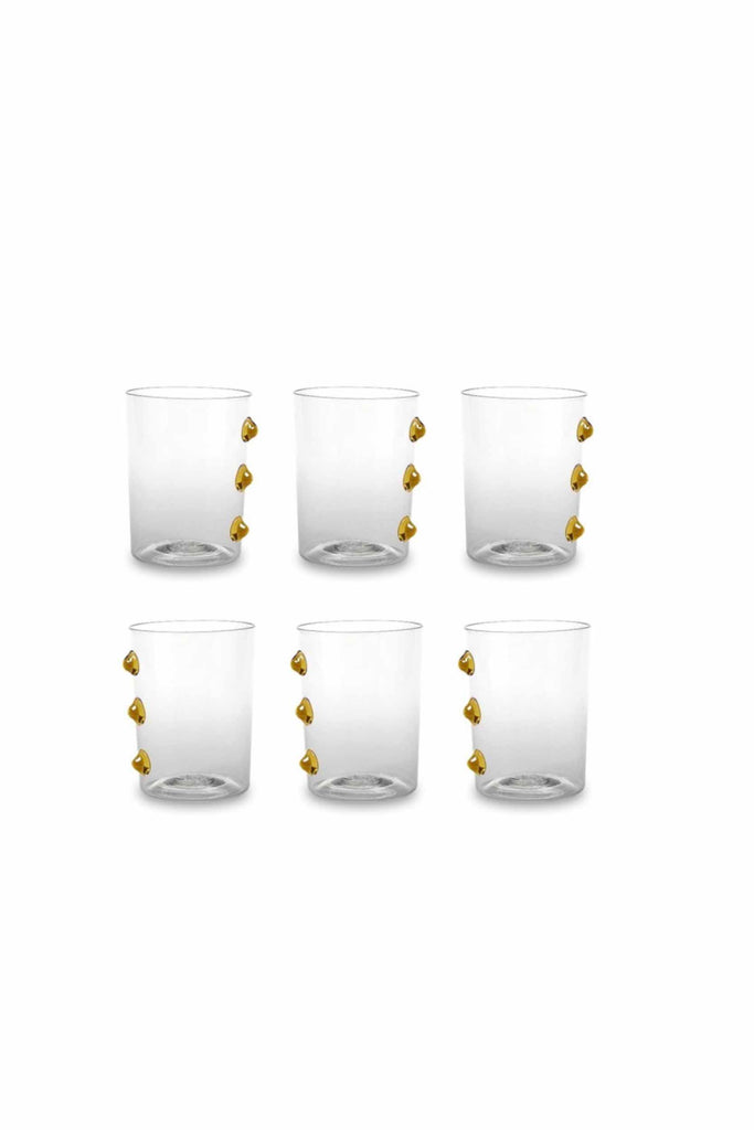SET OF SIX GLASS TUMBLERS WITH ORANGE ACCENTS